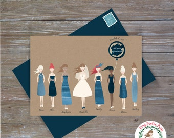 """Personalized """"Will you be my bridesmaid"""" proposal scratch-off cards: Indigo colors"""