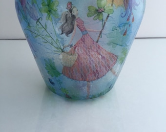 Blue spring glass vase, mothers day gift
