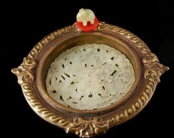 Vintage Chinese Carved Jade Carnelian Hardstone Chinese Symbols Coaster
