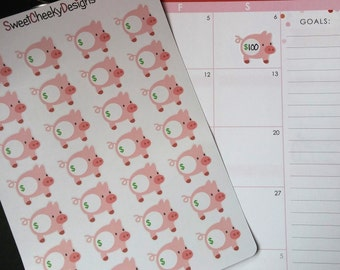 Savings/Piggy Bank Tracking Stickers!  Perfect for Erin Condren Life Planner, MAMBI/Happy Planner, Plum Planner, Etc.