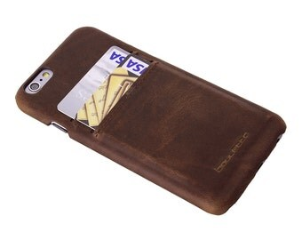 iPhone 6S Leather Cover, iPhone 6 Leather Case, The Best Case for iPhone in Rustic Brown, Perfect to caryy Essential Cards, in AnticBrown