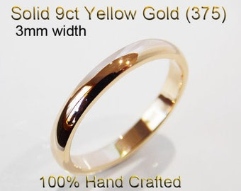 9ct 375 Solid Yellow Gold Ring Wedding Engagement Friendship Half Round Band 3mm