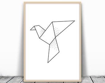 Geometric Bird Print, Origami Print, Dove Print, Pigeon Art, Geometric Dove Art, Paper Crane Art, Geometric Bird Art, Abstract Bird Download