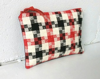 Coral red, black and cream houndstooth silk and denim zipper pouch