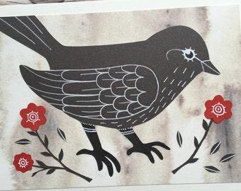 Handmade Gray Bird Card