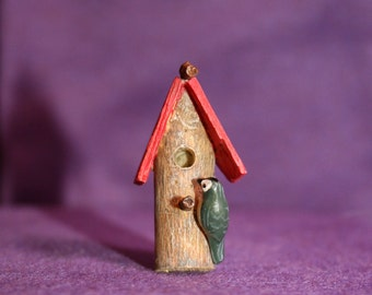 Tiny birdhouse pin; Nuthatch and bird house brooch; bird lover's pin; vintage hand made brooch; nut hatch bird brooch