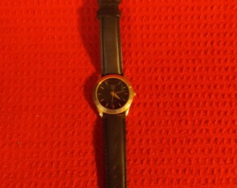 Black face Dial Gucci watch with Kreisler genuine leather band