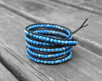 Leather Bracelet Emperor Stone Bracelet Cuff Bracelet Beaded Bracelet Leather Wrap Bracelet
