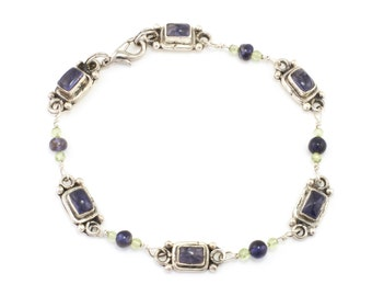 Bali Sterling Silver Bezel Set Iolite Bracelet with Peridot and Iolite Links **CLEARANCE SALE**