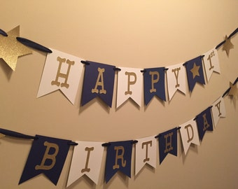 Star Happy Birthday Banner, happy first birthday banner, navy and gold banner, on the night you were born banner, twinkle twinkle