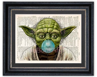 NEW Yoda with Bubble Gum, Dictionary Art Print, Star Wars Art Print,Star Wars Yoda