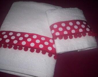 Decorative Bath Towel Set - White - Red - Polka Dot Trim