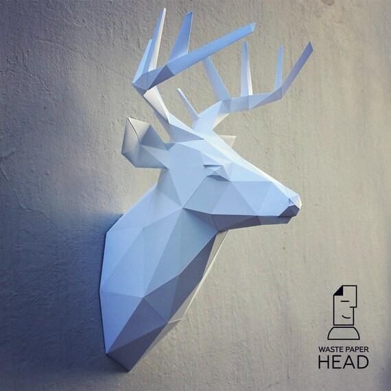 papercraft deer head 2 printable diy template by
