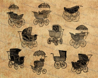 Digital SVG PNG vintage baby stroller, carriage, buggy, pushchair, pram, clipart, vector, silhouette,  instant download