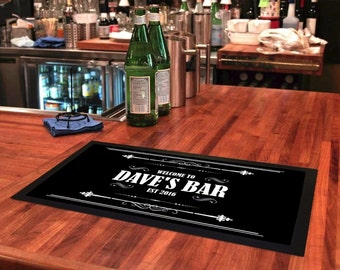 Personalised Bar Runners Welcom To 'Your Name' Home or Pub Bar Mat Spill Mat Mens Gift Idea