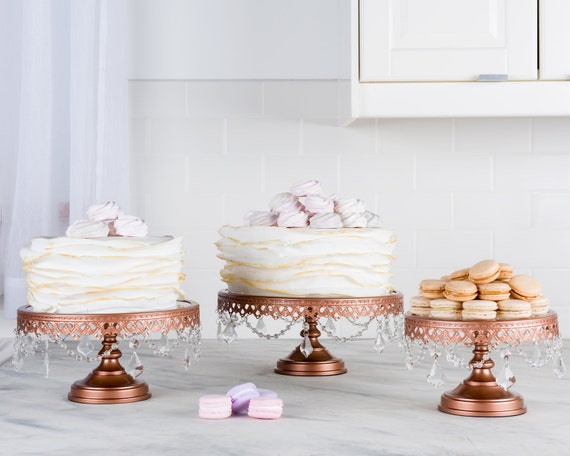wedding cake stand rose gold gold cake stand set of 3 with crystals by 25645