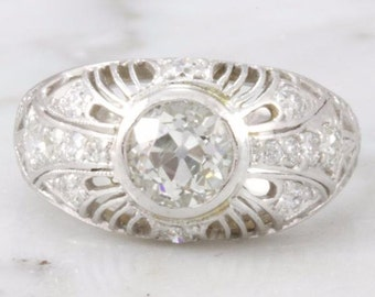 Valerie- Art Deco Old European Cut Diamond Engagement Ring