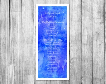 Unique wedding programs Simple wedding program template Watercolor wedding Programs Romantic wedding Day of wedding Program for wedding W30