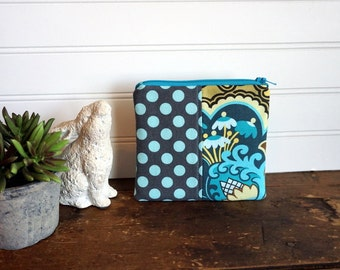 Zipper Bag - Small Coin Purse, Credit Card or Gift Card Holder, Aqua, Grey, Yellow Paisley Flowers and Dots