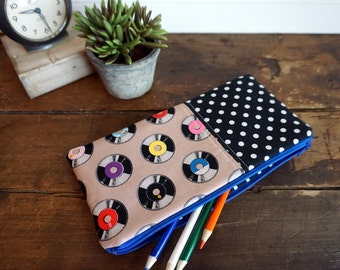 Make-up or Pencil Bag, Rectangle Zipper Bag, Records, 50's style fabric with black and white dots