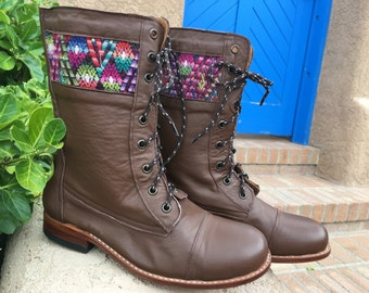 50% off Handcrafted leather boots with Guatemalan huipil cloth