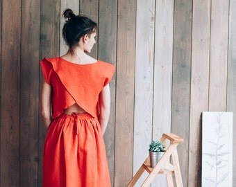 Womens Linen Top,  Scarlet, Red, Oversized, Summer Top, Beach Top, Designer clothing, Linen Clothes SS17, Natural Flax
