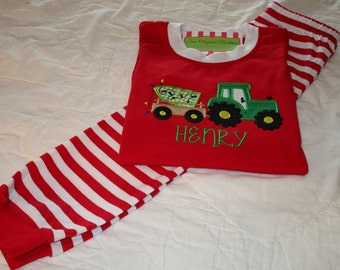 Boy Christmas Pajamas-Boy Personalized Christmas Pajamas- Red Christmas Pajamas-Christmas Tractor Pajamas-Christmas Farm Pajamas