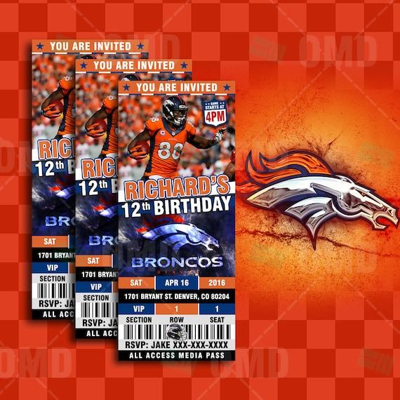 Denver Broncos Sports Party Invitation 2.5x6 By Sportsinvites