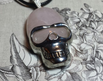 Rose Quartz Skull Pendant necklace