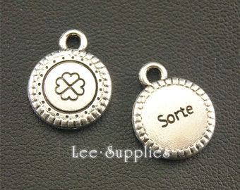 30pcs Antique Silver Round Clover pattern Mini Tag Charms A1362