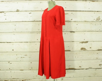 vintage 1980s red flapper style pleated drop waist dress dress S M