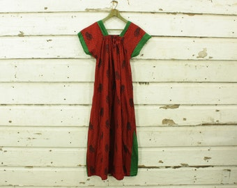 vintage 1970s red & green india cotton babydoll tent dress XS S