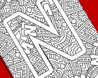 alphabet adult coloring pages instant download letter n