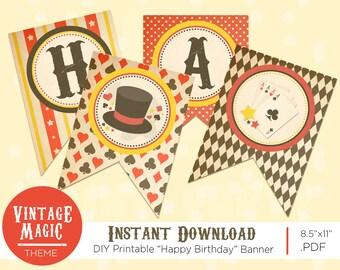 Happy Birthday Banner - Vintage Magic Theme - DIY Printable - Vintage Magic Birthday Party