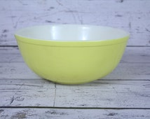 Vintage Lemon Yellow Pyrex Bowl 4 Four Quart Primary Colors Mixing Bowl Nesting Large # 404 Ovenware Made in USA White 10""