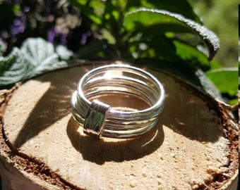 Banded Silver Stacking Rings, 10.75 US
