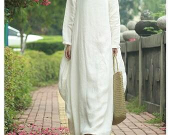 White tunic dress long kaftan linen dress linen maxi dress loose cotton dress long sleeve women dress plus size clothing custom order