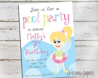 pool party invitation • swim party • girl birthday invitation •pool party