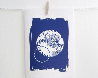 Cyanotype Card, Sun Print Card, A6 Floral Patterned Notecard, Cyan-Blue Flower Print