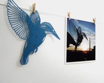 Kingfisher Papercut Flat Notecard / Mini Print