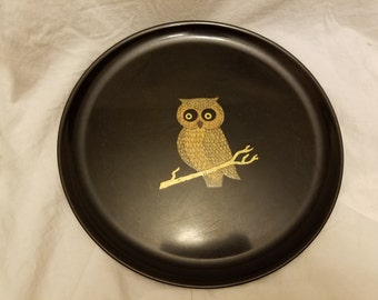 Couroc of Monterey Plate with inlaid brass owl