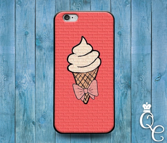 iPhone 4 4s 5 5s 5c SE 6 6s 7 plus iPod Touch 4th 5th 6th Generation Pink Bow Ice Cream Iced Cone Cool Funny Fun Girly Girl Cover Case
