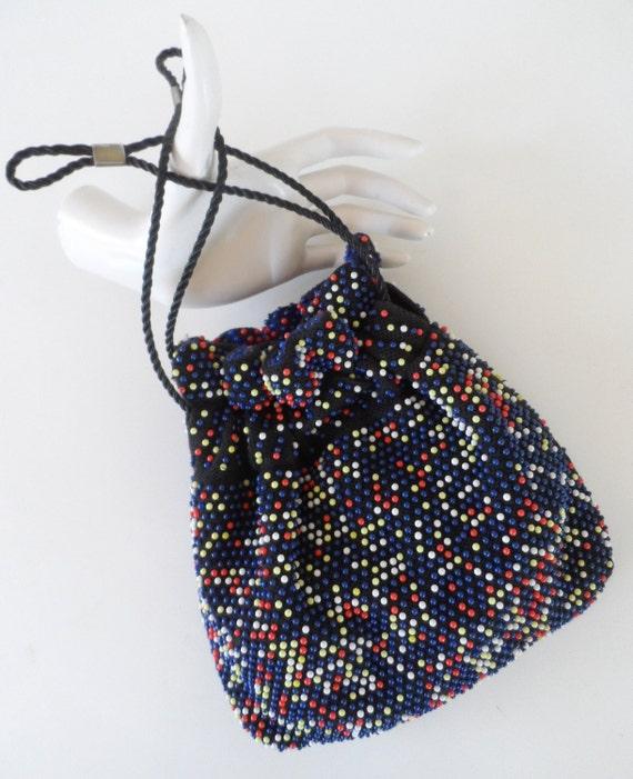 Vintage corde bead reversible handbag, drawstring closure - Made in Hong Kong
