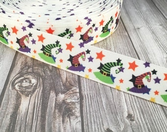 "Witch hat ribbon - Halloween ribbon - Purple green orange - 7/8"" Grosgrain ribbon - Happy Halloween - Halloween crafts - Witch ribbon"