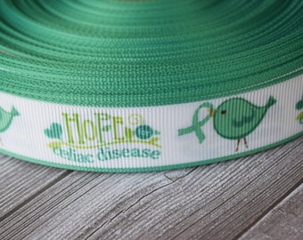Celiac awareness ribbon - Hope for celiac - Awareness ribbon - 3 or 5 yard lot - Bird ribbon - White and teal - DIY awareness bows