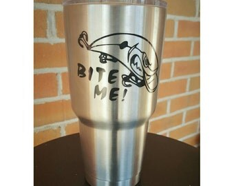 "Decal for ORCA Yeti RTIC or Ozark cup, CAR Window Decal, Cooler Decal 3.5""x2.5"" Bite me Fish"