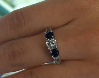 14k WG Sapphire Diamond Engagement Ring