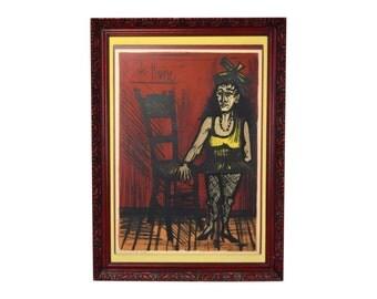 "1968 Bernard Buffet L/E Lithograph Female Circus Performer ""La Naine"" Signed"
