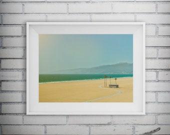 Beach Photography, Beach Decor, Palm Tree, Ocean Wall Art, Lifeguard Tower, Blue Ocean, Nautical Decor, Printable Art, Digital Download