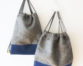 Upcycled kids rucksack, grey wool with blue colored cork, sustainable and unique, handmade in London, custom made service available